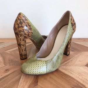 Chloé | Green and Camel Python Leather Heels